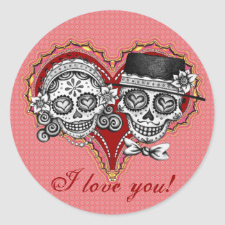 I LOVE YOU! Sugar Skull Stickers