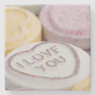 I Love You Sweet Candy Valentine Hearts Stone Beverage Coaster