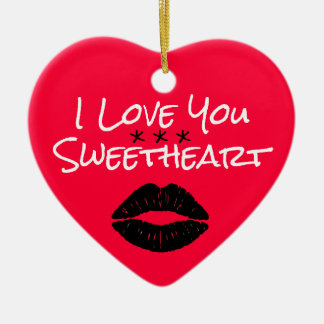 I Love You Sweetheart with Lips Ceramic Heart Decoration