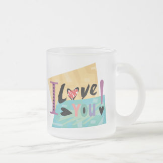 I Love You T-shirts and Gifts Frosted Glass Mug