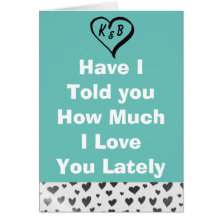 I Love You Teal with Silver Hearts Card