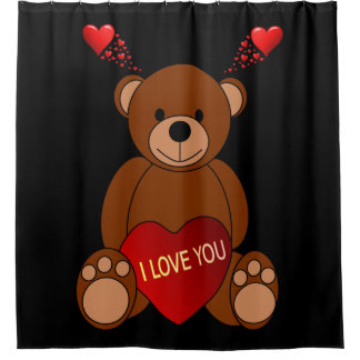 i love you teddy bear childrens showercurtain shower curtain
