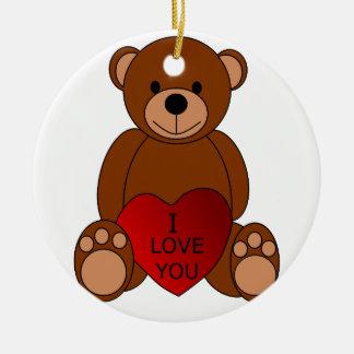 I Love You Teddy Bear Christmas Ornament