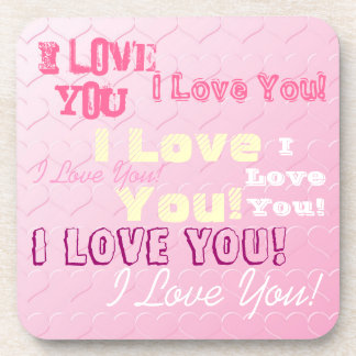 I Love You Text Collage on Pink Hearts Coasters