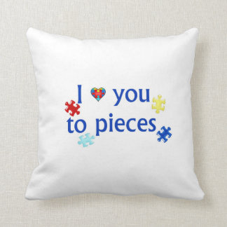 I Love You To Pieces Autism Puzzle Piece Pillow