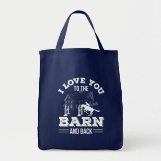 I Love You To The Barn Back Horse Riding Tote Bag