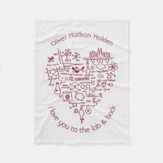 I Love You to the Lab and Back Custom Chemist Gift Fleece Blanket