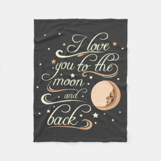 I Love You To The Moon And Back Black Fleece Blanket