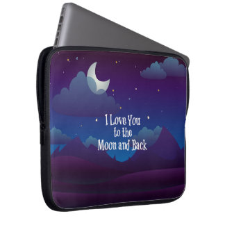 I Love You to the Moon and Back, blue indigo Laptop Sleeve