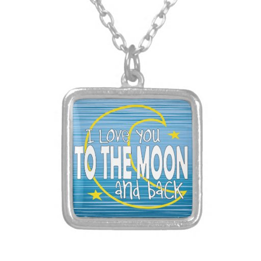 I love You To The Moon And Back Blue Necklace