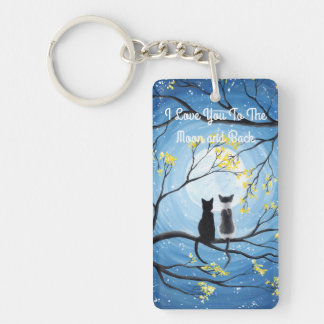 I Love You To The Moon and Back Cat Single-Sided Rectangular Acrylic Key Ring