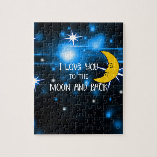 I Love You to the Moon and Back, colorful design Jigsaw Puzzle