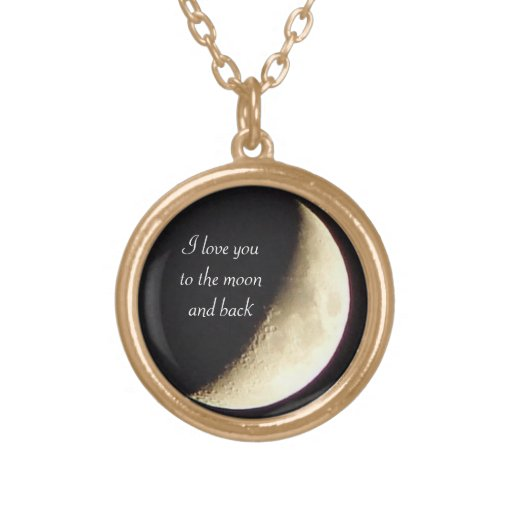 I love you to the moon and back gold necklace