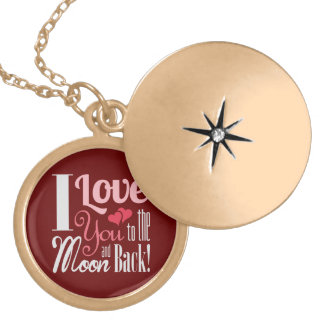 I Love You to the Moon and Back - Mixed Typography Round Locket Necklace