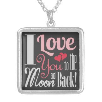 I Love You to the Moon and Back - Mixed Typography Square Pendant Necklace