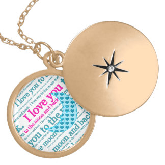 I Love You to the Moon and Back Mothers Day Gifts Round Locket Necklace