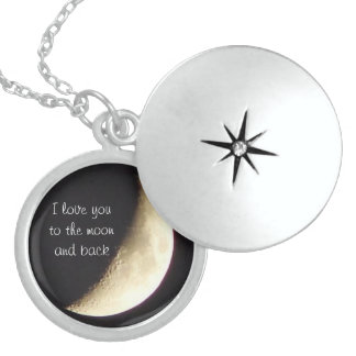 I love you to the moon and back necklace/locket sterling silver necklace