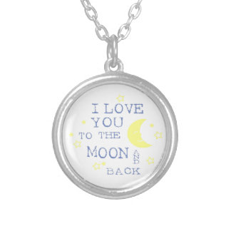 I Love You to the Moon and Back Quote - Blue Round Pendant Necklace