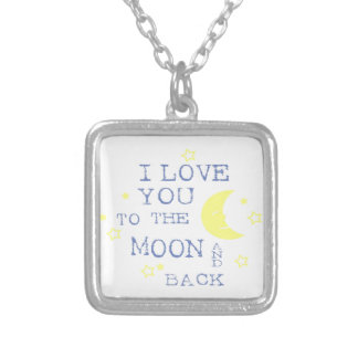 I Love You to the Moon and Back Quote - Blue Square Pendant Necklace
