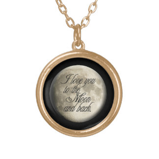 I Love You to the Moon and Back Realistic Lunar Gold Plated Necklace