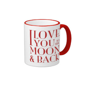 I love you to the moon and back red on white ringer mug