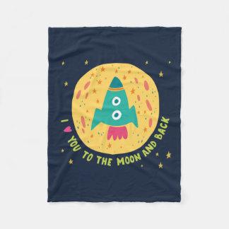 I Love You To The Moon And Back Rocketship Fleece Blanket