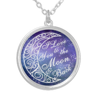 """""""I Love You To The Moon and Back"""" Romantic Gift Round Pendant Necklace"""