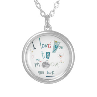 I love you to the moon and back round pendant necklace