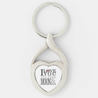 I Love You To The Moon And Back Silver-Colored Twisted Heart Key Ring