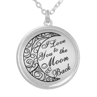 """""""I Love You To The Moon and Back"""" Silver Round Pendant Necklace"""