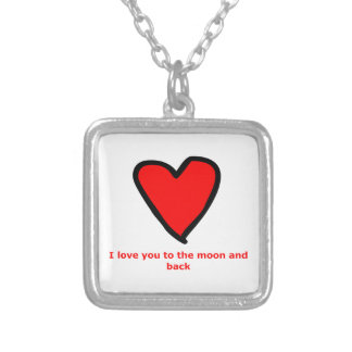 I love you to the moon and back! silver plated necklace