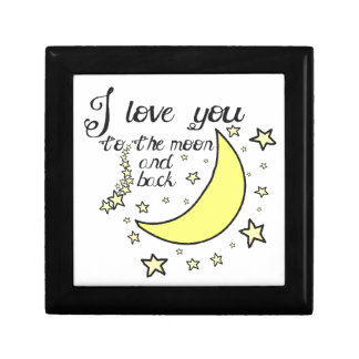 I love you to the moon and back small square gift box