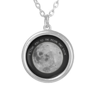 I Love You To The Moon and Back Starry Sky Round Pendant Necklace