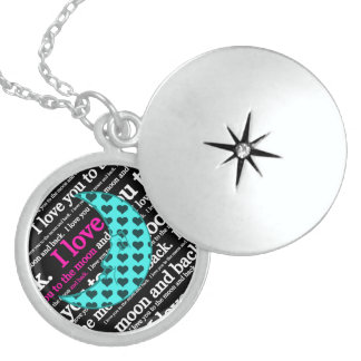 I Love You to the Moon and Back Typography Locket
