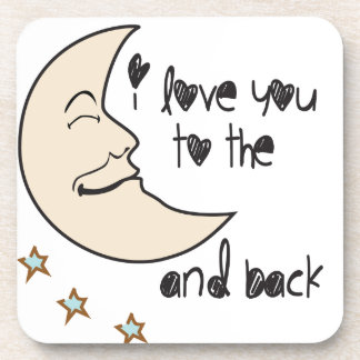 I love you to the moon and back whimsical beverage coasters