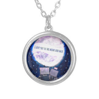I Love You To The Moon & Back Robots Round Pendant Necklace