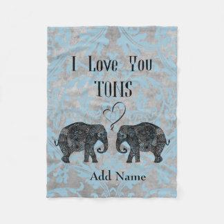 I LOVE YOU TONS/Elephant Art/Personalized Fleece Blanket