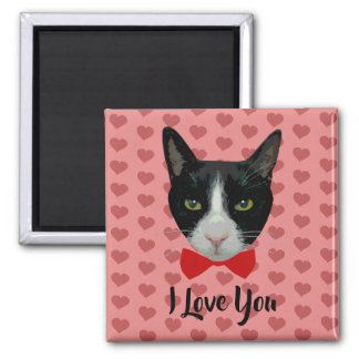 I Love You - Tuxedo Cat with Bow Tie Magnet