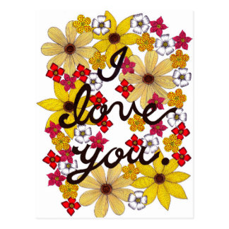 I Love You Typography With Yellow Flowers Postcard