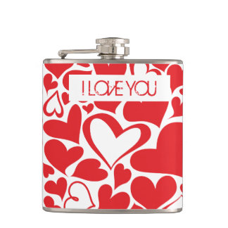 I love you Valenentine motif with red heart Hip Flask