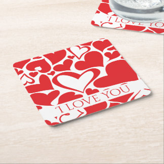I love you Valentine motif with red heart Square Paper Coaster