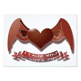 I love you winged heart card