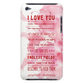 """""""I Love You With The Nameless Love…"""" Funky Chic iPod Touch Case"""