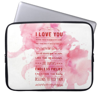 """""""I Love You With The Nameless Love…"""" Funky Chic Laptop Sleeve"""