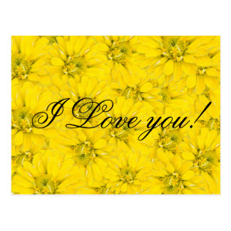 i love you yellow flower postcard