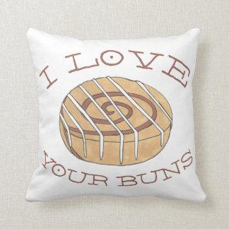 I Love Your Buns Cinnamon Roll Breakfast Bun Food Cushion