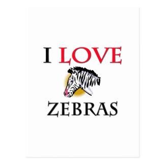 I Love Zebras Postcard