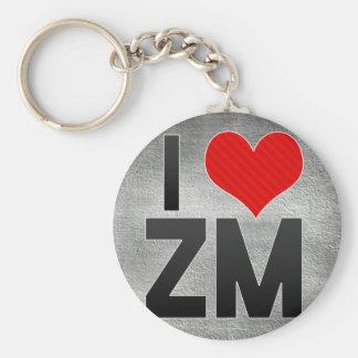 I Love ZM Basic Round Button Key Ring