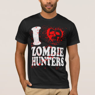 I Love Zombie Hunters Heart Art Cool Remix T Shirt