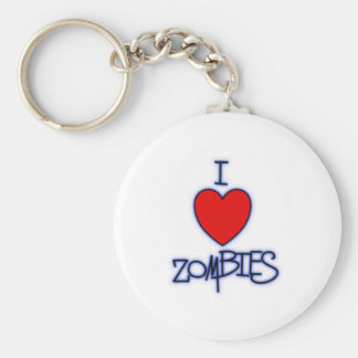 I Love Zombies! Basic Round Button Key Ring